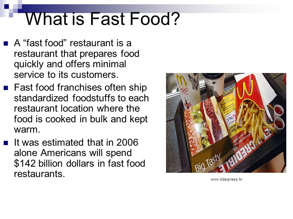 What is Fast Food A fast food restaurant is a restaurant that prepares food quickly and offers minimal service to its customers.