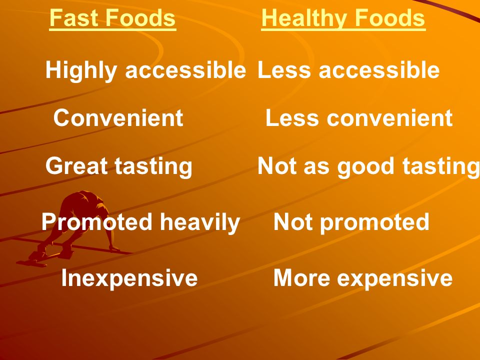 Fast Foods Healthy Foods. Highly accessible. Less accessible. Convenient. Less convenient. Great tasting.