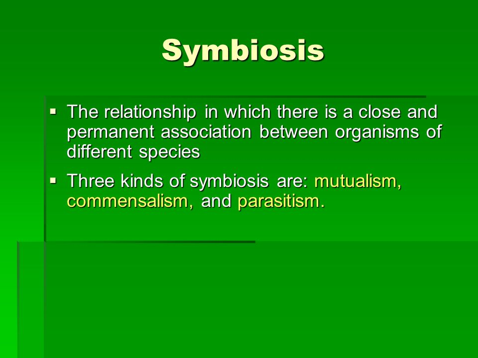 Symbiosis The relationship in which there is a close and permanent association between organisms of different species.