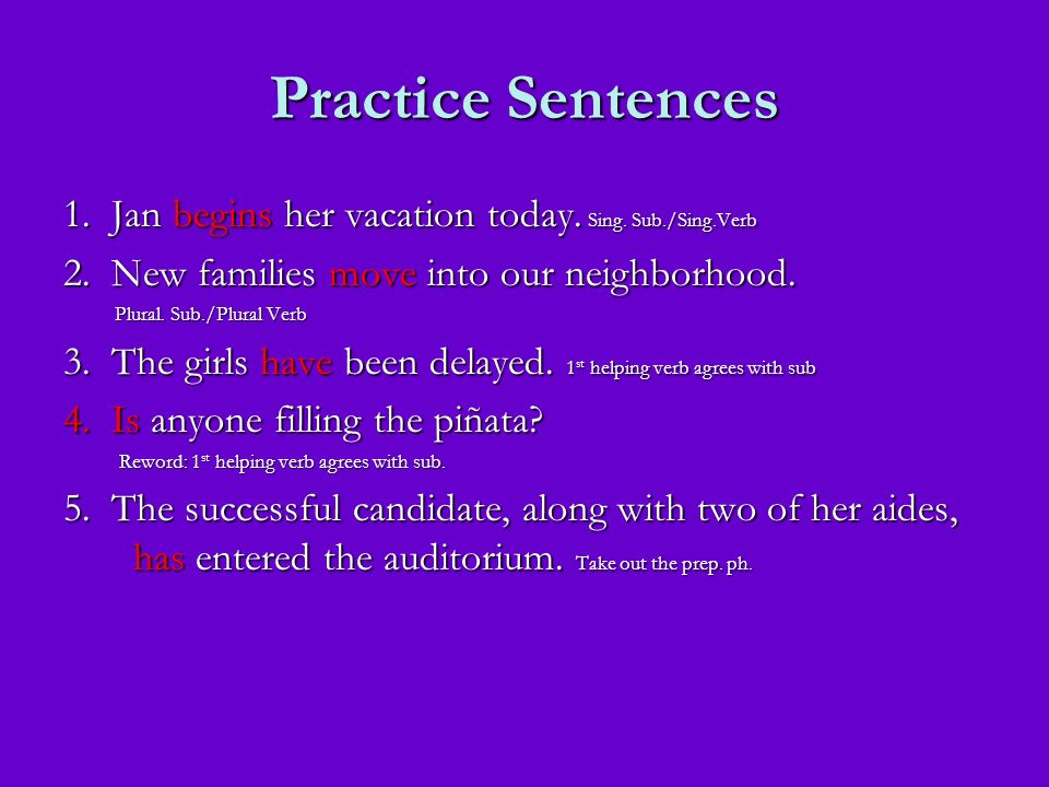 Practice Sentences 1. Jan begins her vacation today. Sing. Sub./Sing.Verb. 2. New families move into our neighborhood.