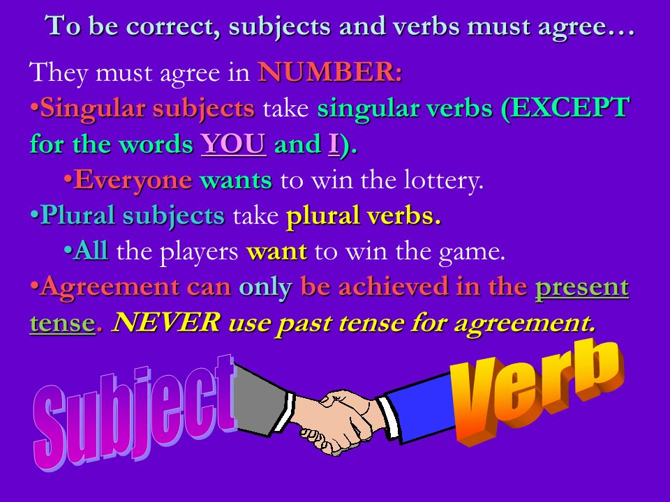 To be correct, subjects and verbs must agree…
