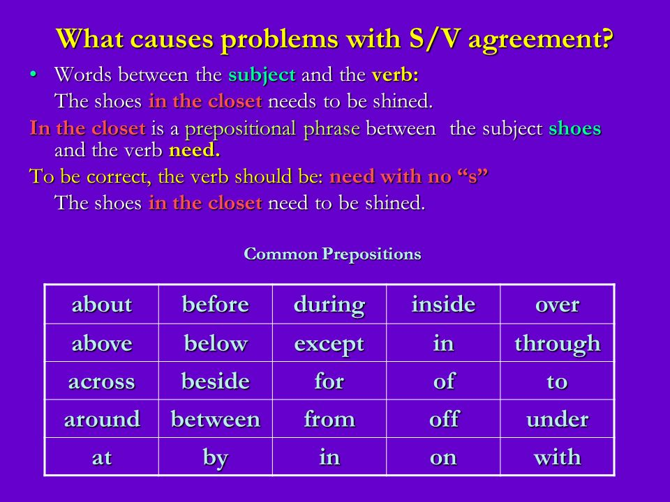 What causes problems with S/V agreement