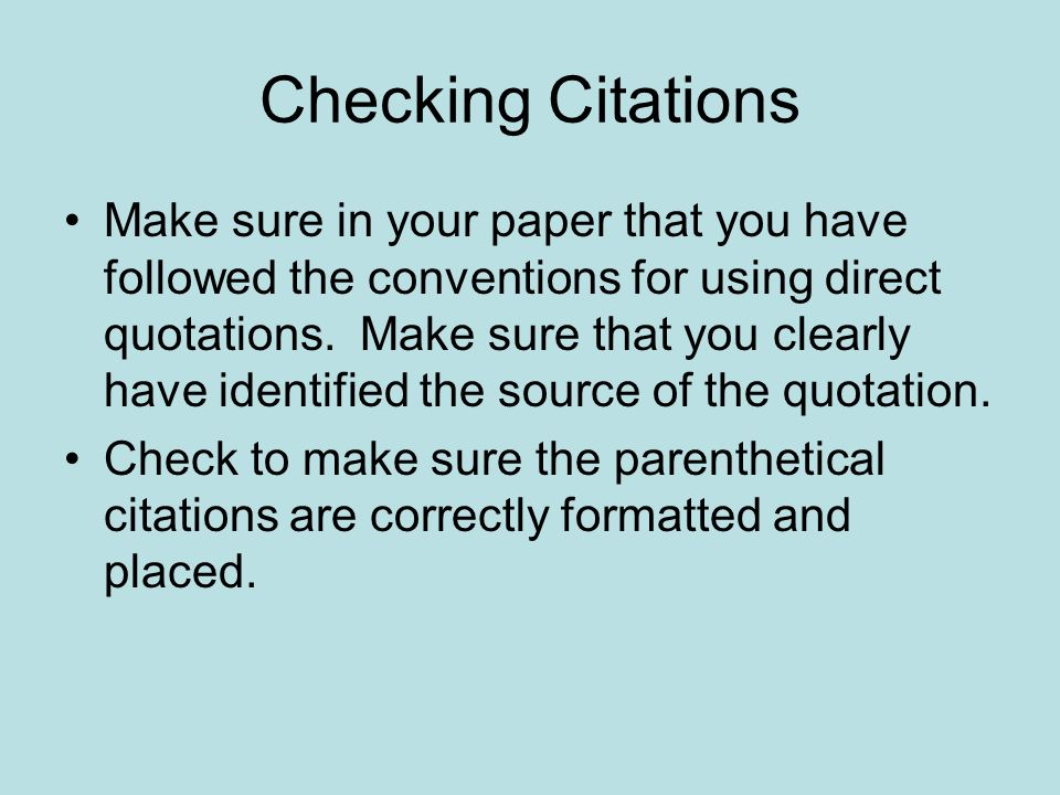 Checking Citations