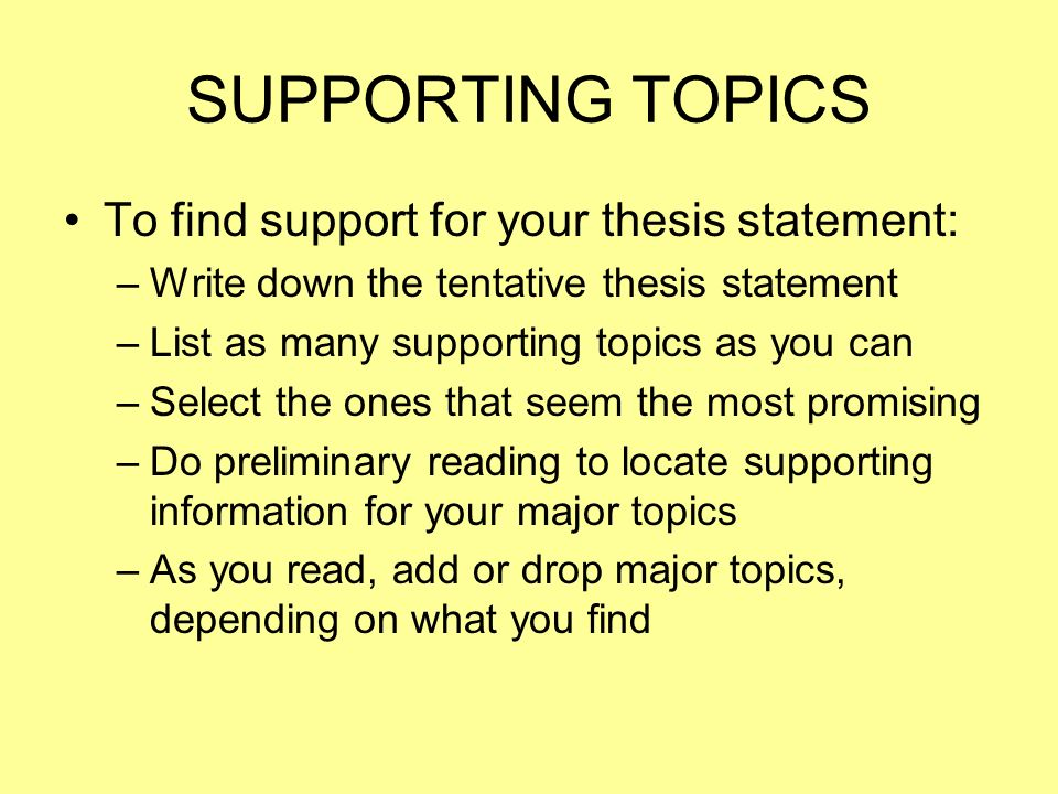 supporting your thesis An outline is a breakdown of the main and supporting ideas in your essay, report,   will want to include your thesis, the topic sentences from your supporting.