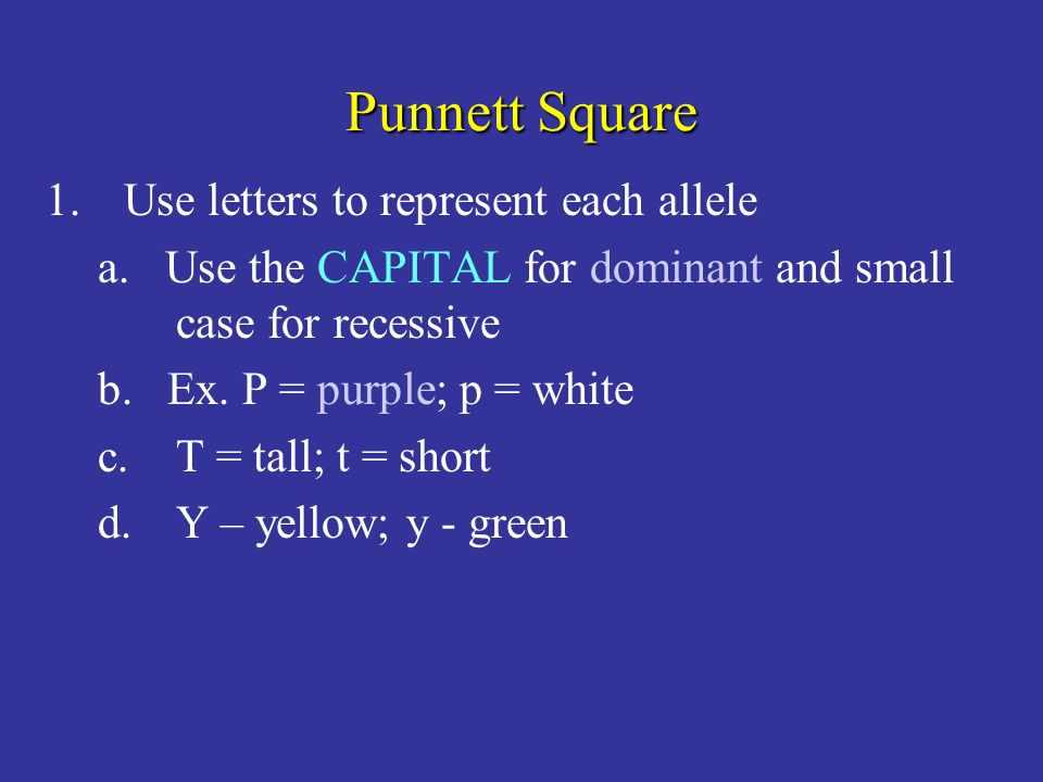 Punnett Square Use letters to represent each allele