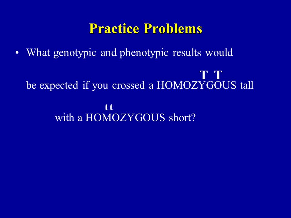 Practice Problems T T What genotypic and phenotypic results would