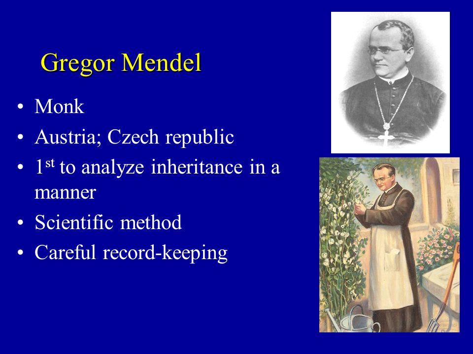 Gregor Mendel Monk Austria; Czech republic