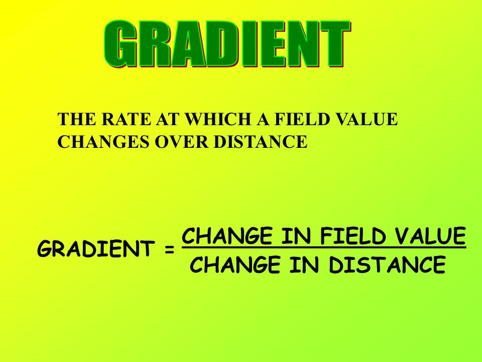 GRADIENT CHANGE IN FIELD VALUE GRADIENT = CHANGE IN DISTANCE