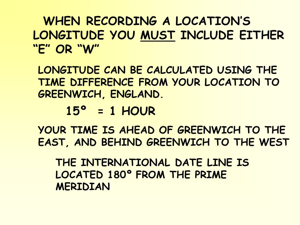WHEN RECORDING A LOCATION'S LONGITUDE YOU MUST INCLUDE EITHER E OR W