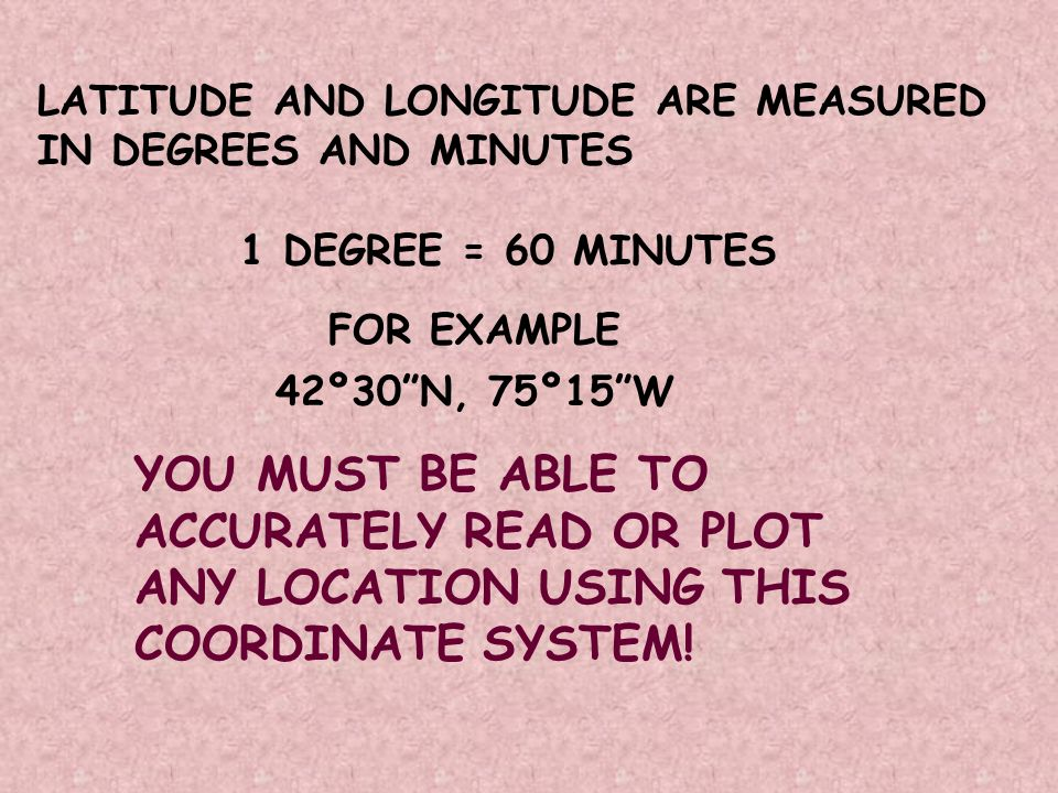 LATITUDE AND LONGITUDE ARE MEASURED IN DEGREES AND MINUTES