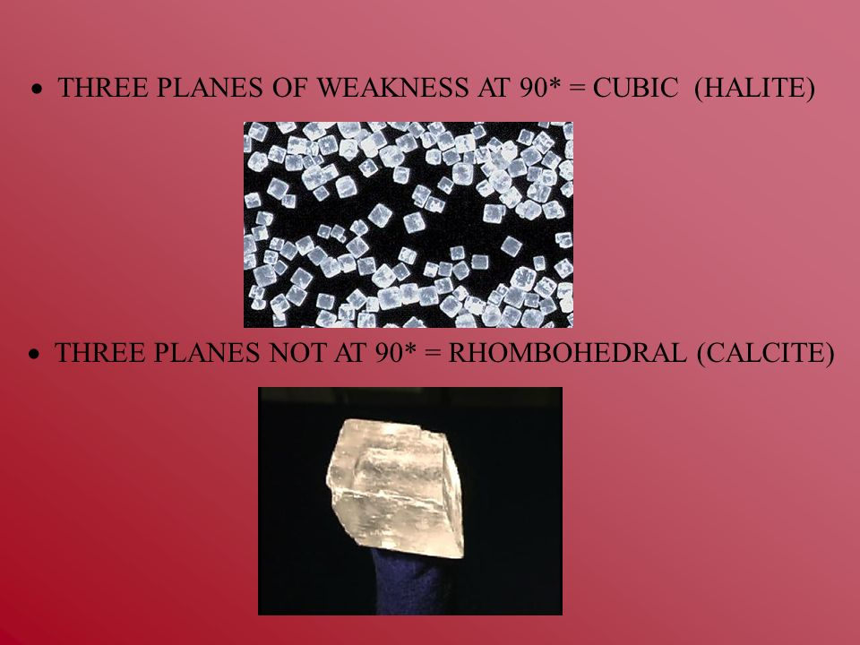  THREE PLANES OF WEAKNESS AT 90* = CUBIC (HALITE)