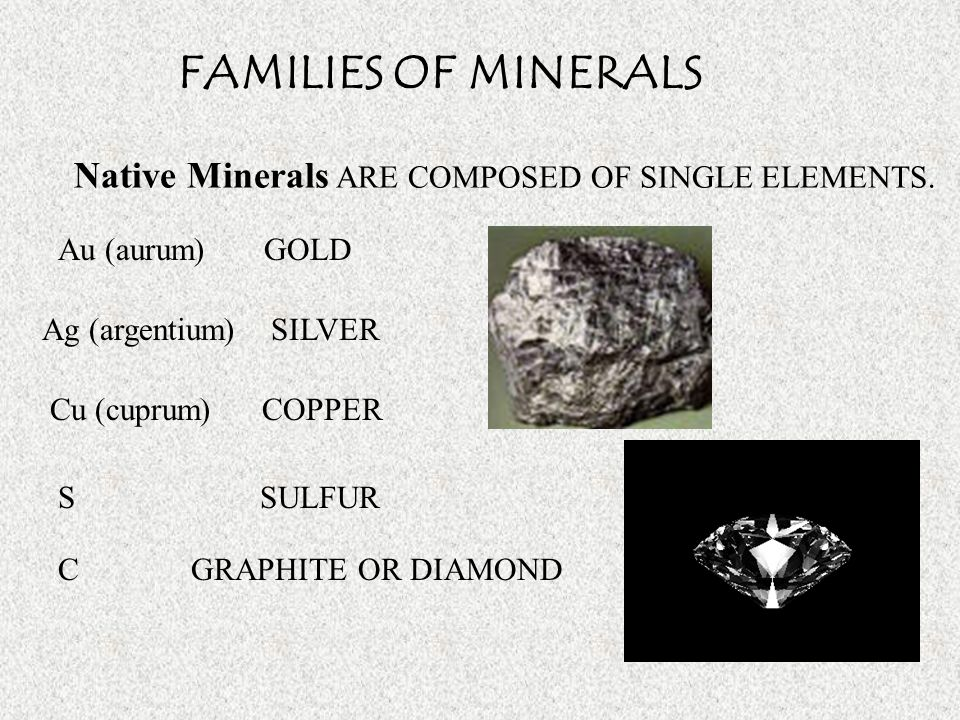 FAMILIES OF MINERALS Native Minerals ARE COMPOSED OF SINGLE ELEMENTS.