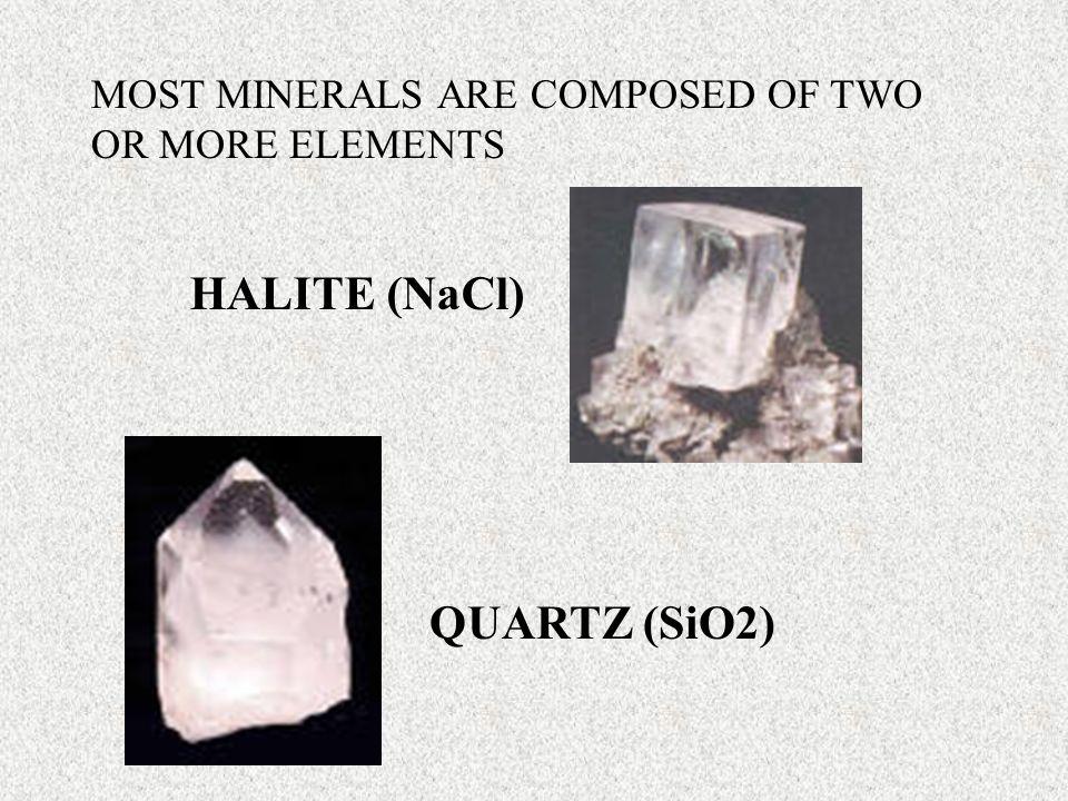 HALITE (NaCl) QUARTZ (SiO2)