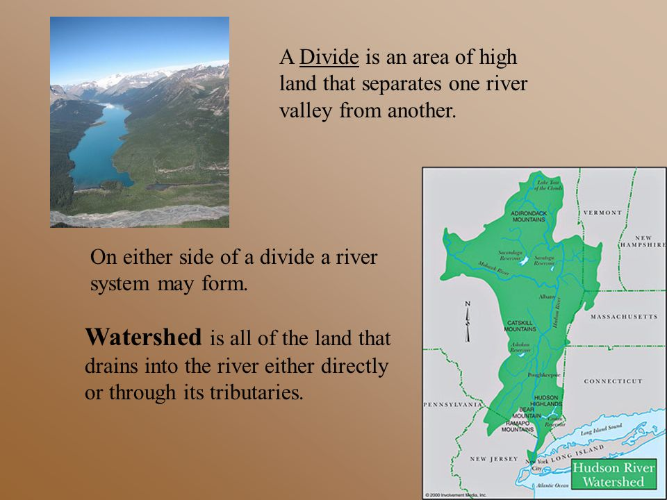 A Divide is an area of high land that separates one river valley from another.