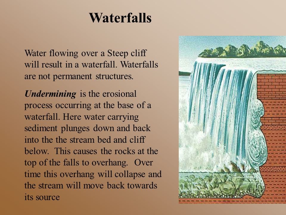 Waterfalls Water flowing over a Steep cliff will result in a waterfall. Waterfalls are not permanent structures.