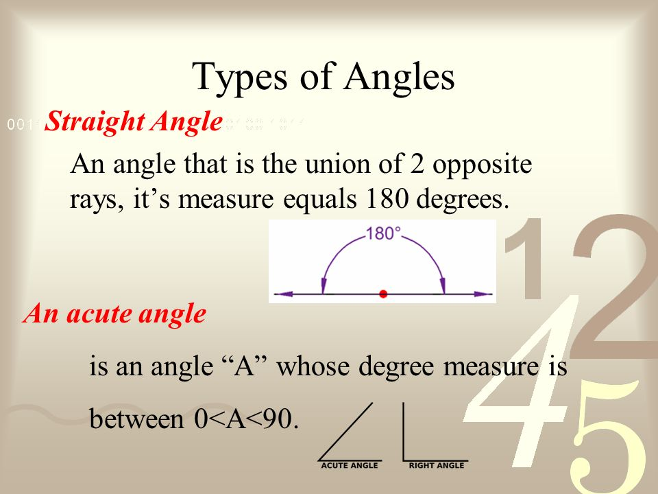 Types of Angles Straight Angle