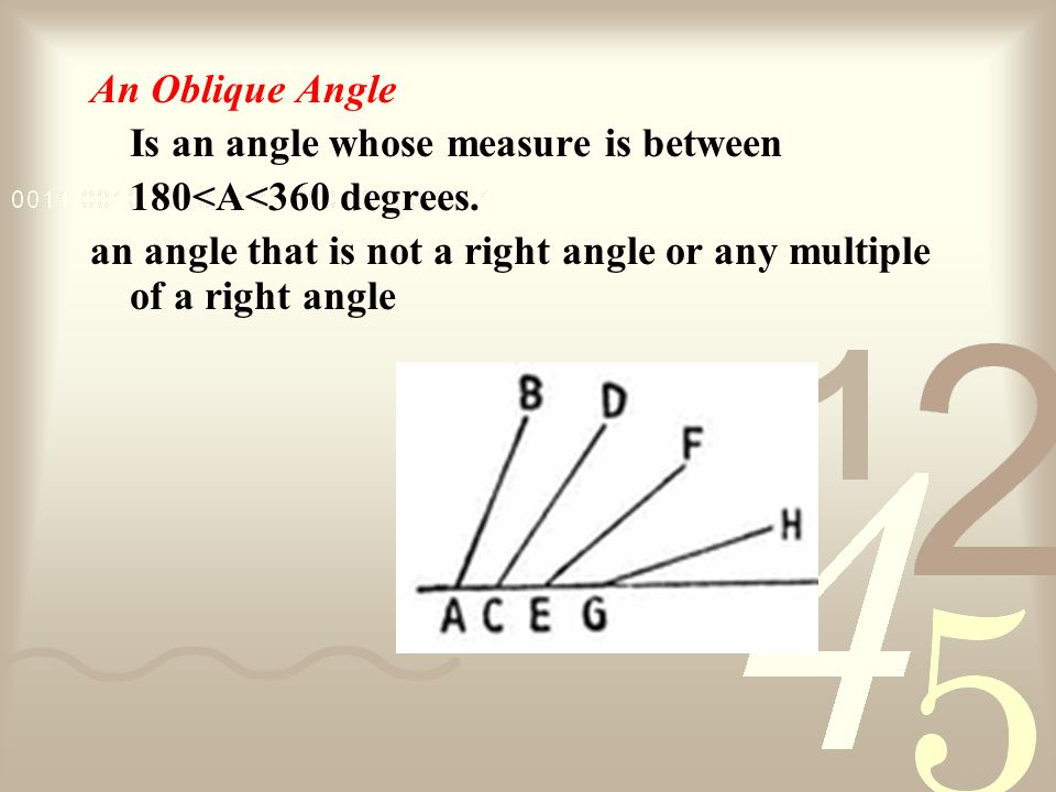 An Oblique Angle Is an angle whose measure is between.
