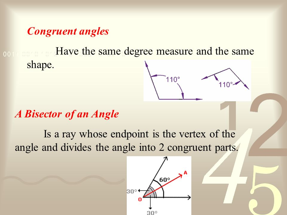 Congruent angles Have the same degree measure and the same shape. A Bisector of an Angle.