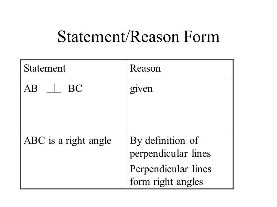 Statement/Reason Form