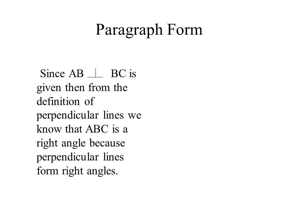 Paragraph Form