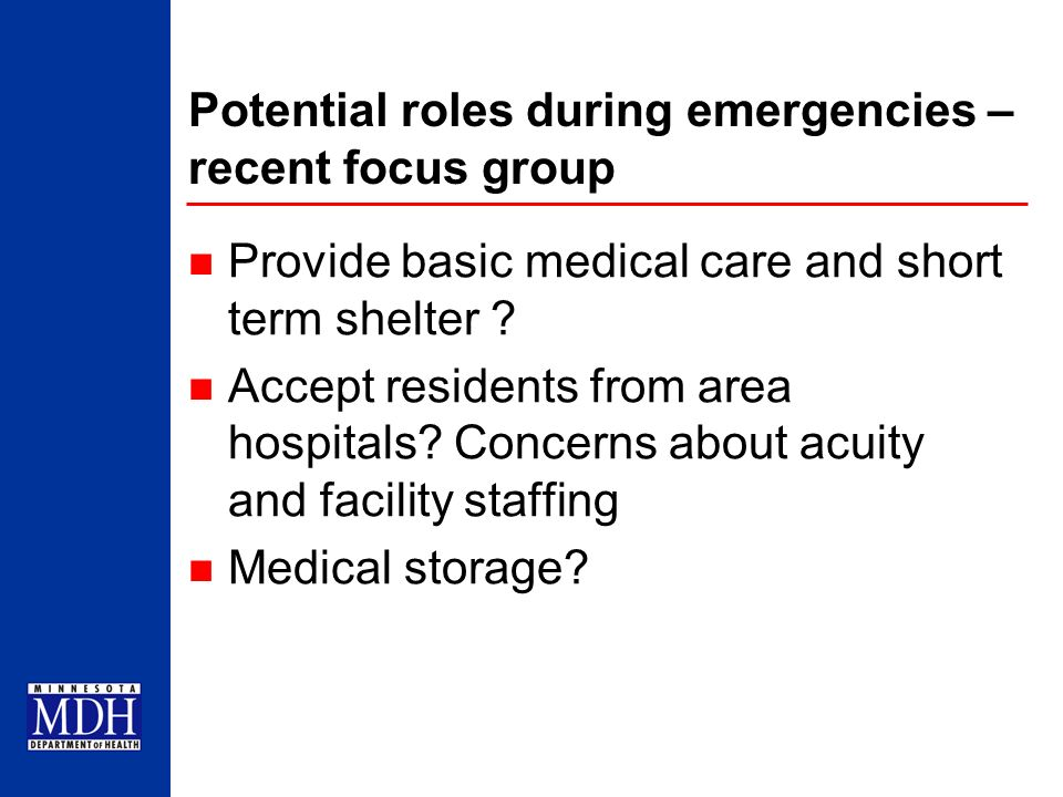 Potential roles during emergencies – recent focus group