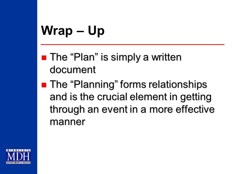 Wrap – Up The Plan is simply a written document