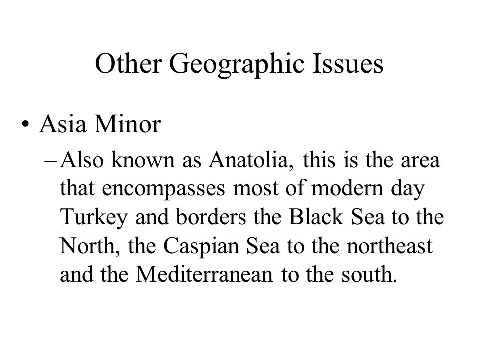 Other Geographic Issues