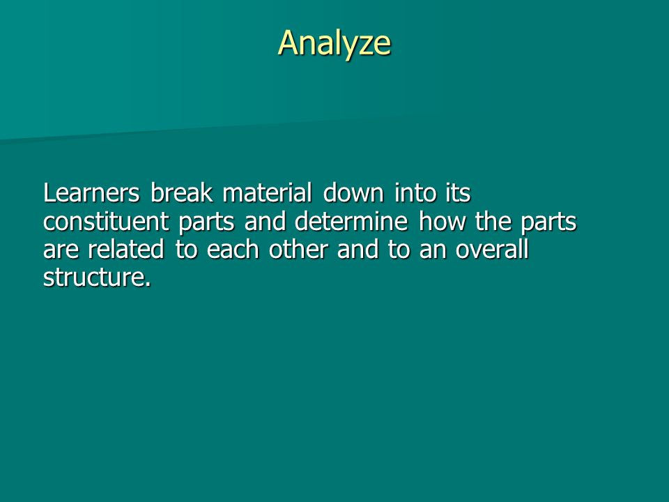Analyze Learners break material down into its constituent parts and determine how the parts are related to each other and to an overall structure.