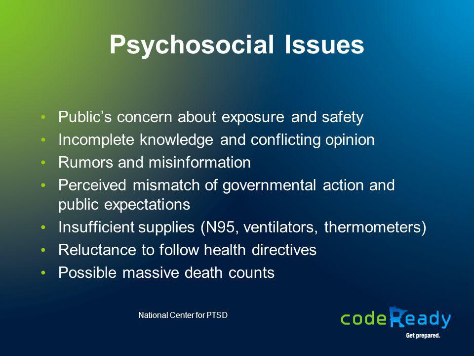Psychosocial Issues Public's concern about exposure and safety