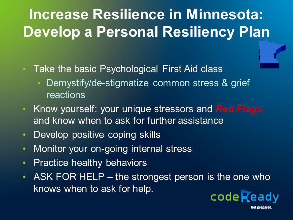 Increase Resilience in Minnesota: Develop a Personal Resiliency Plan