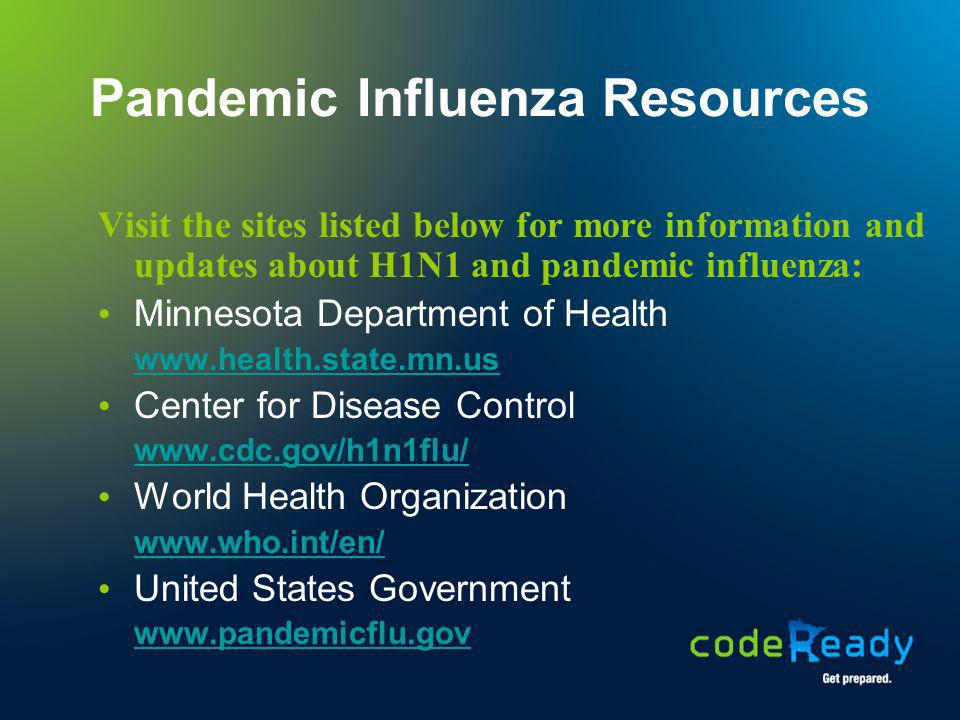 Pandemic Influenza Resources