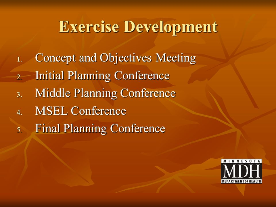 Exercise Development Concept and Objectives Meeting