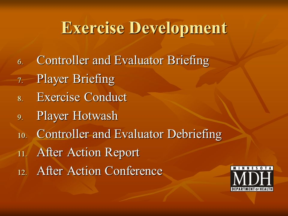 Exercise Development Controller and Evaluator Briefing Player Briefing