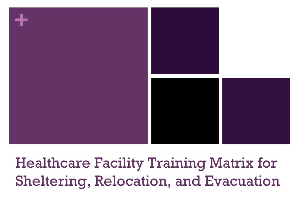 Healthcare Facility Training Matrix for Sheltering, Relocation, and Evacuation