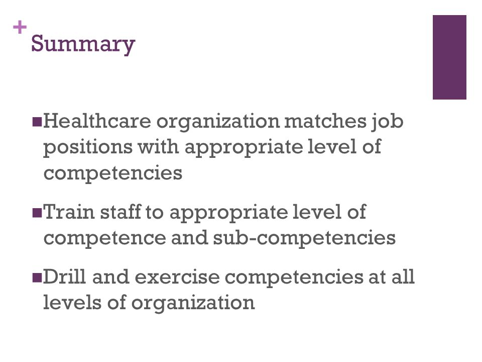 Summary Healthcare organization matches job positions with appropriate level of competencies.