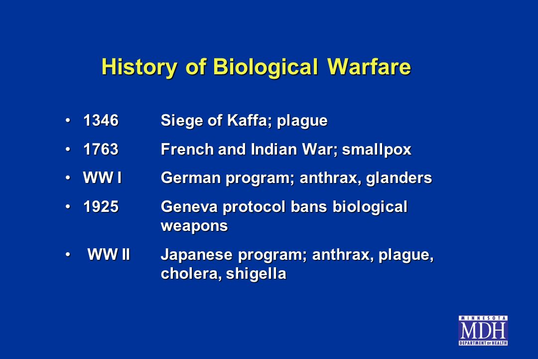 history biological warfare This article describes important historical roots and factors that influenced the  evolution of south africa's past covert chemical and biological warfare (cbw).
