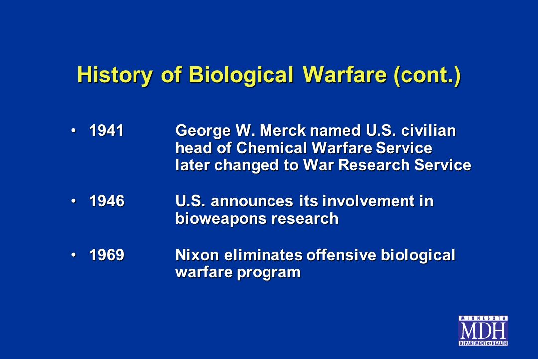 History of Biological Warfare (cont.)