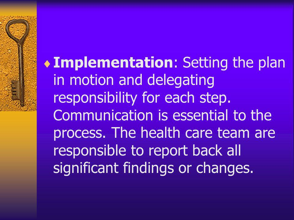 Implementation: Setting the plan in motion and delegating responsibility for each step.