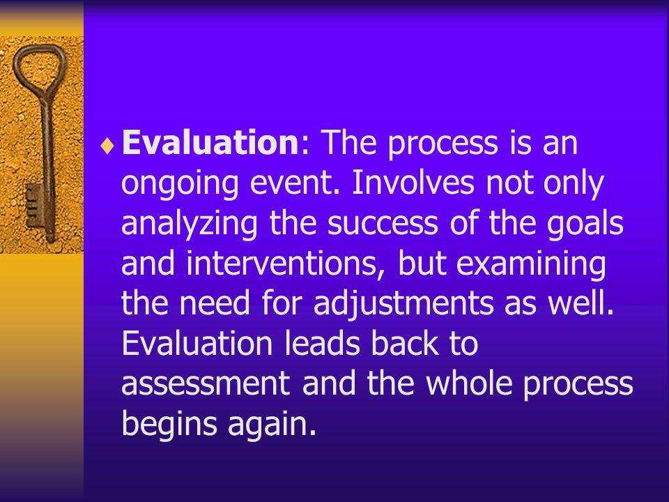 Evaluation: The process is an ongoing event