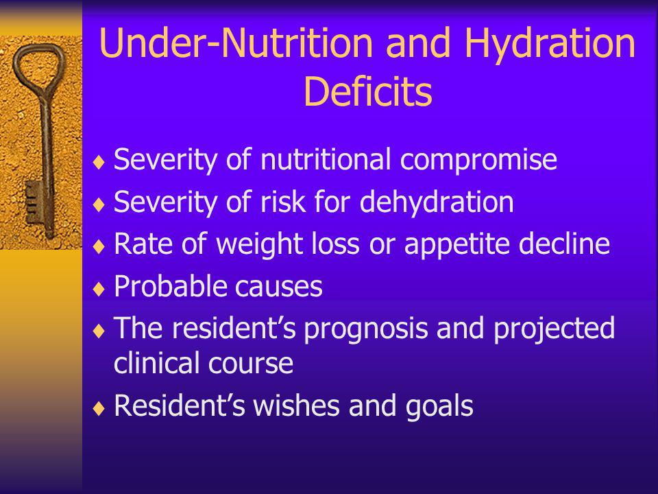 Under-Nutrition and Hydration Deficits