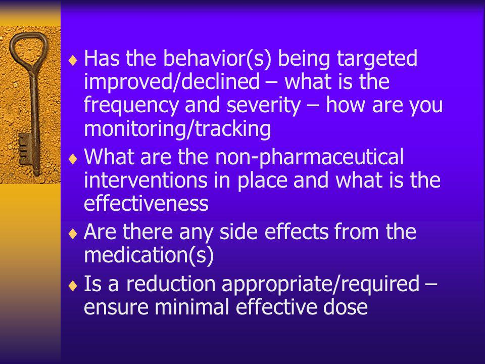 Has the behavior(s) being targeted improved/declined – what is the frequency and severity – how are you monitoring/tracking