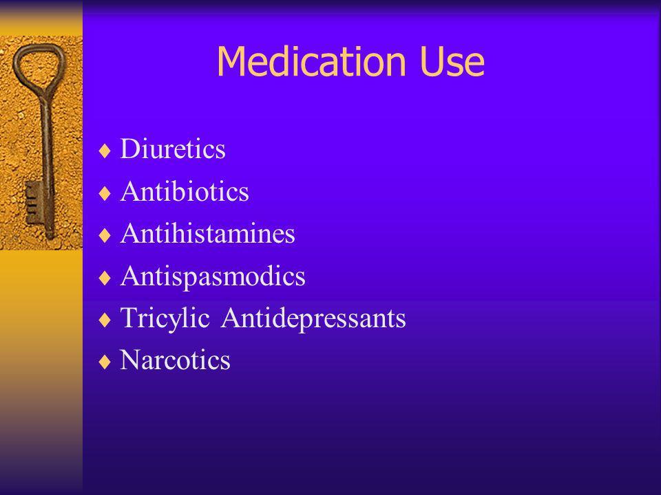 Medication Use Diuretics Antibiotics Antihistamines Antispasmodics
