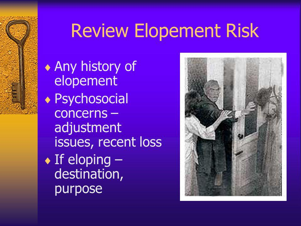 Review Elopement Risk Any history of elopement