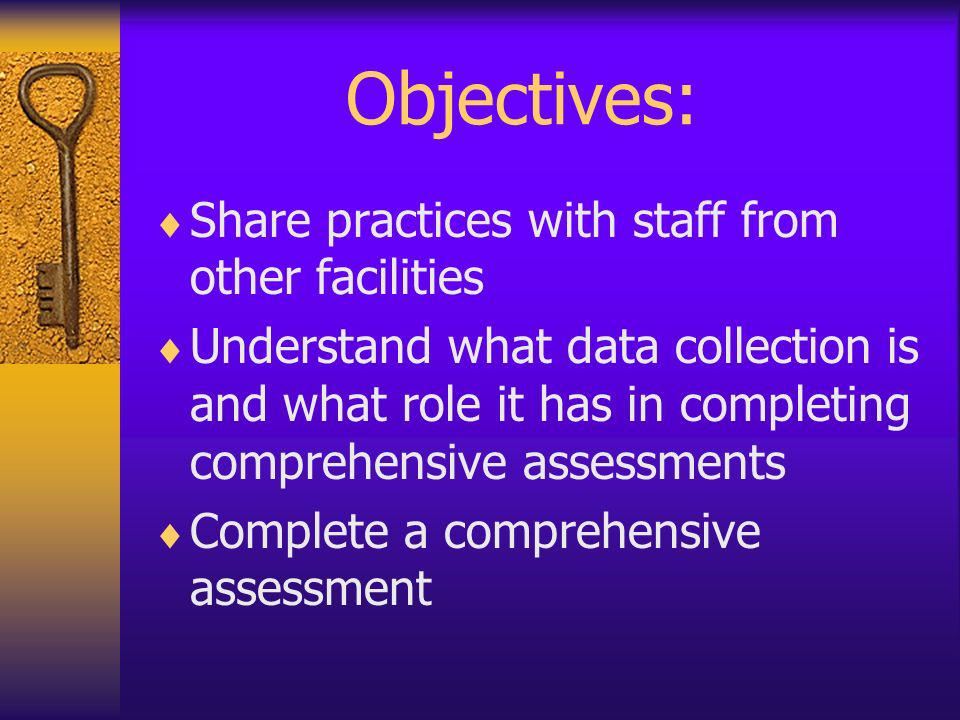 Objectives: Share practices with staff from other facilities