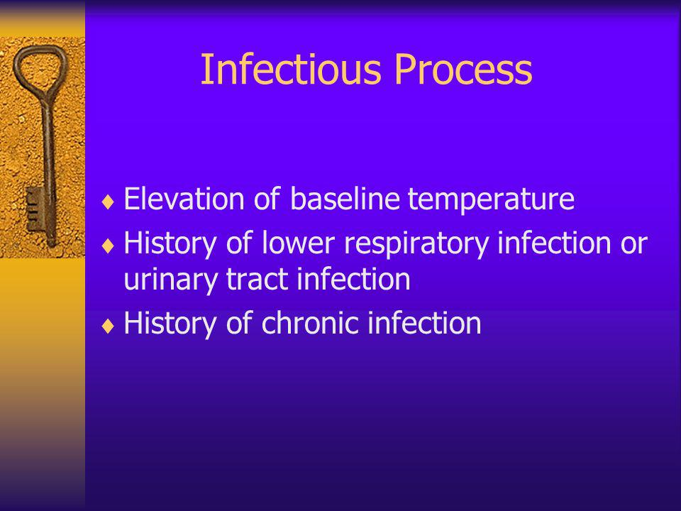 Infectious Process Elevation of baseline temperature