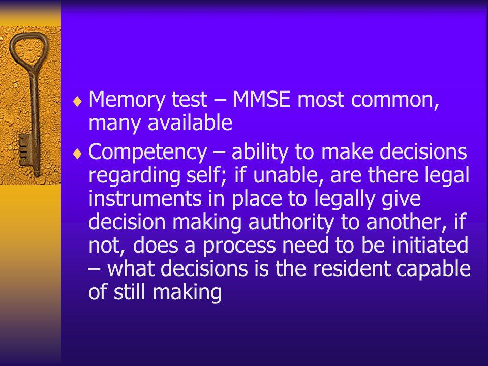 Memory test – MMSE most common, many available