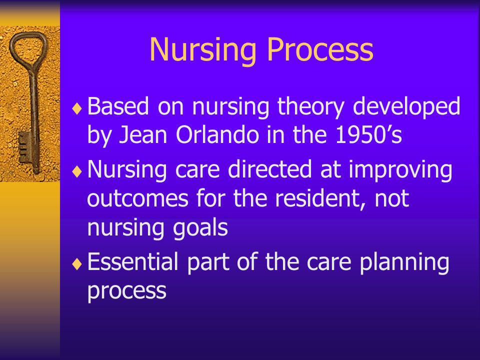 Nursing Process Based on nursing theory developed by Jean Orlando in the 1950's.