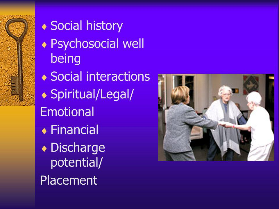Social history Psychosocial well being. Social interactions. Spiritual/Legal/ Emotional. Financial.