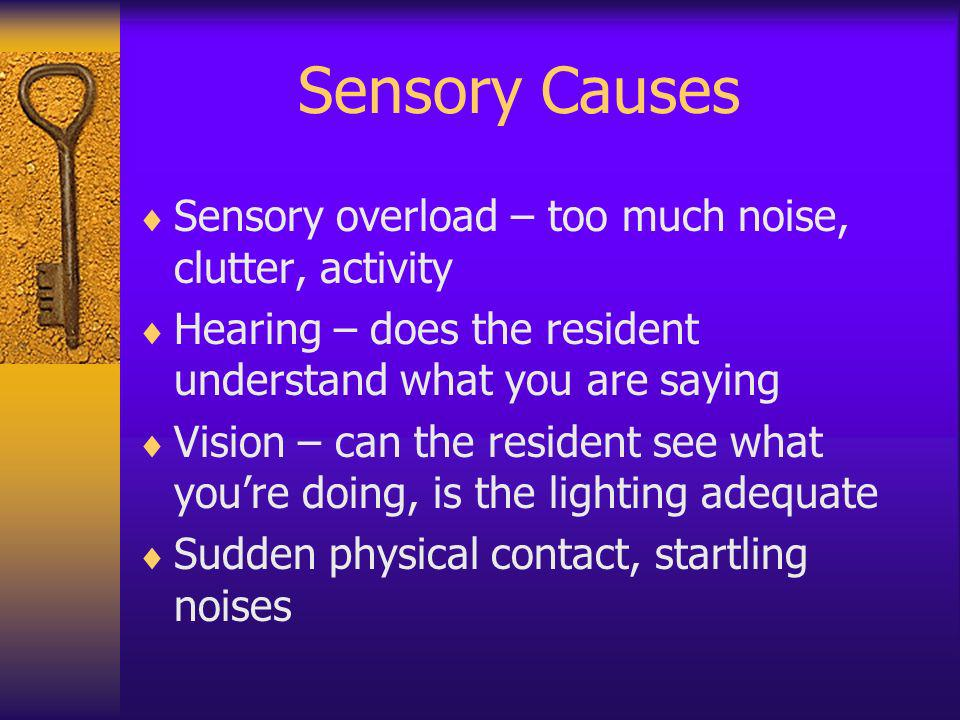 Sensory Causes Sensory overload – too much noise, clutter, activity