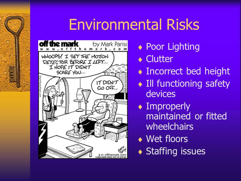 Environmental Risks Poor Lighting Clutter Incorrect bed height